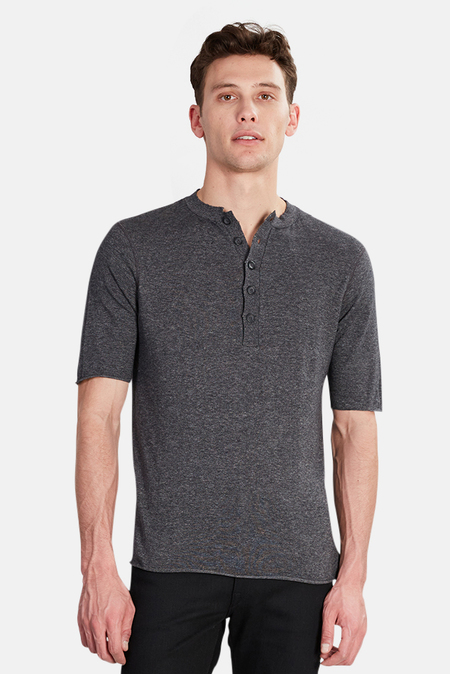 Hannes Roether Juris Henley Tee - Charcoal Grey