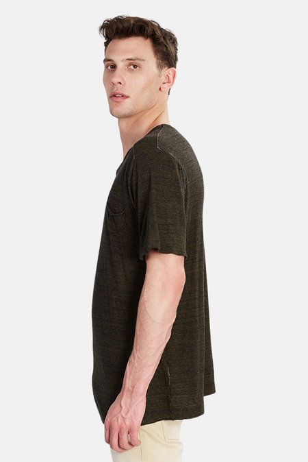 V::ROOM Melange V Neck Tee Shirt - Black