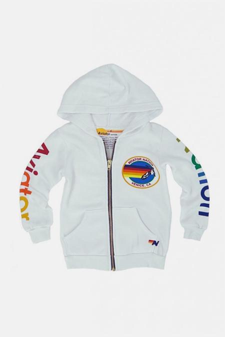 Kids Aviator Nation Zip Hoodie - White