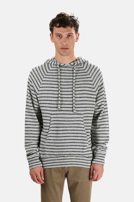 Blue&Cream V Room Long Sleeve Zip Hoodie Sweater - Grey/Black