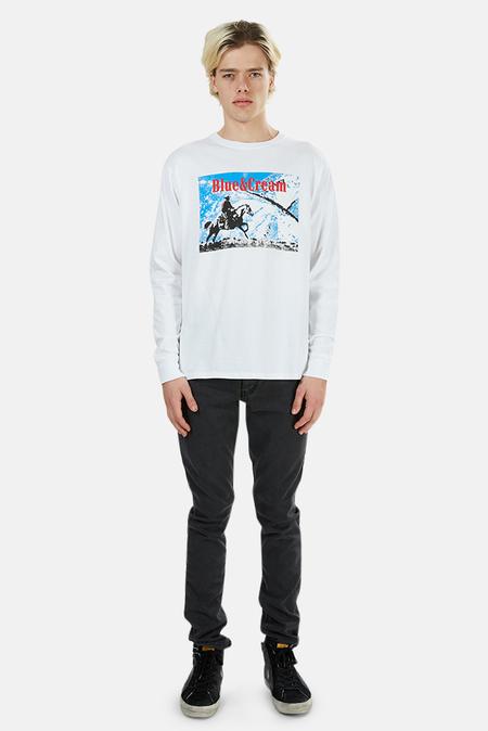 Blue&Cream Ride Long Sleeve Graphic T-Shirt - White