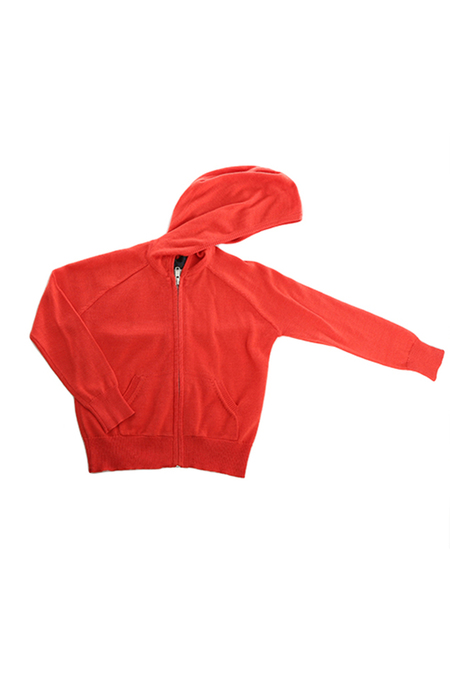kids unisex Blue&Cream Kids Cashmere Zip Hoody Sweater - Coral