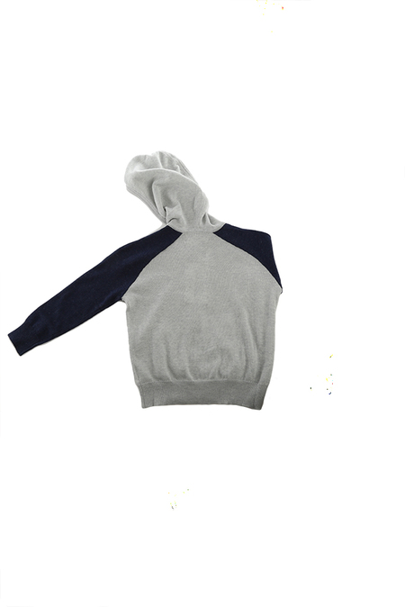 kids unisex blue&Cream Cashmere Zip Hoody Sweater - Silver/Navy