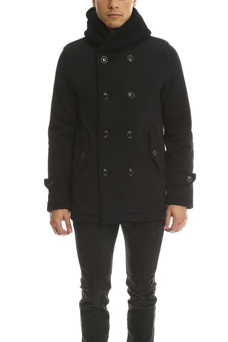 Biography Hooded Double Breasted Coat - Black