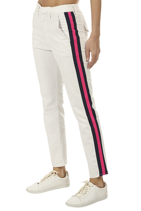 Mother Denim The Straight Shaker Ankle Pant - Chalk/Pink Racer