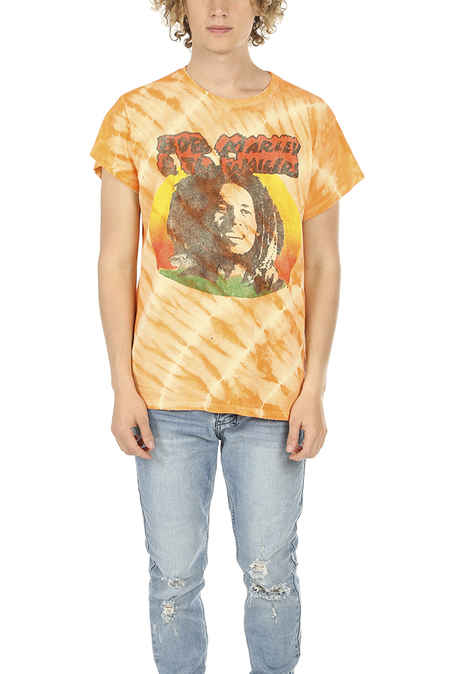 MadeWorn Rock Bob Marley and The Wailers Graphic T-Shirt - Orange Tie Dye