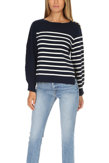 3.1 Phillip Lim Sailor Pullover with Silk Back Sweater - Navy/Antique White