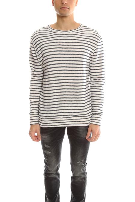 V::Room Gauze LS Fleece Boarder Sweater - White/Navy
