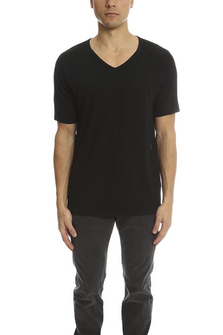 V::ROOM Short Sleeve V Neck T-Shirt - Black