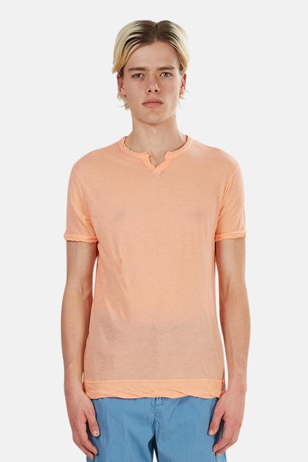 V::ROOM Slit Neck T-Shirt - Pink/Beige