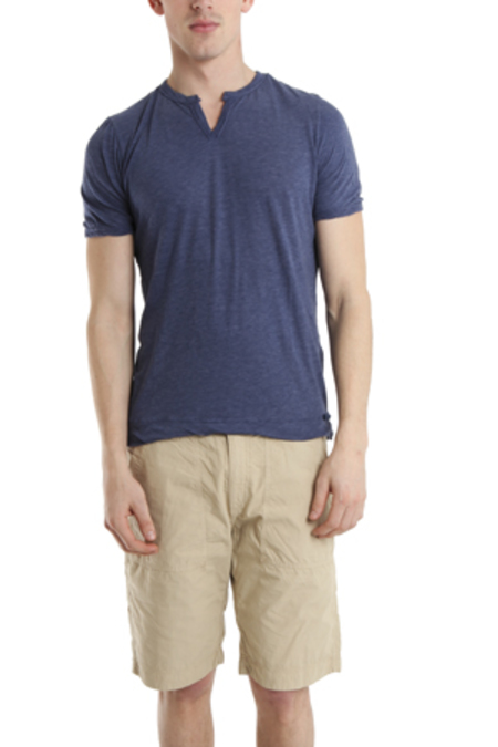 V::ROOM Slit Neck T-Shirt - Indigo/Navy