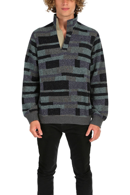Blue&Cream Pop Collar Pullover Sweater - Charcoal