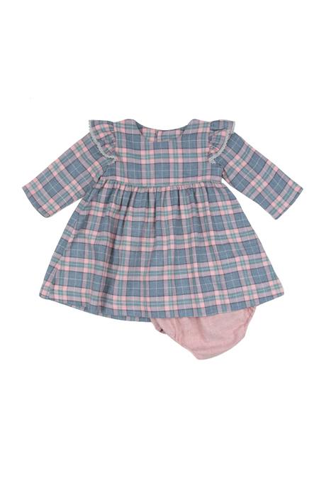 Kids Poeme & Poesie Dress with Lace Trim - Pink/Blue Plaid