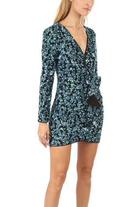 self-portrait Zip Front Sequin Frill Mini Dress - Blue
