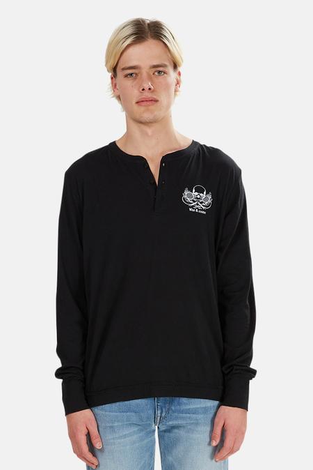 Blue&Cream Skull Henley Sweater - Black