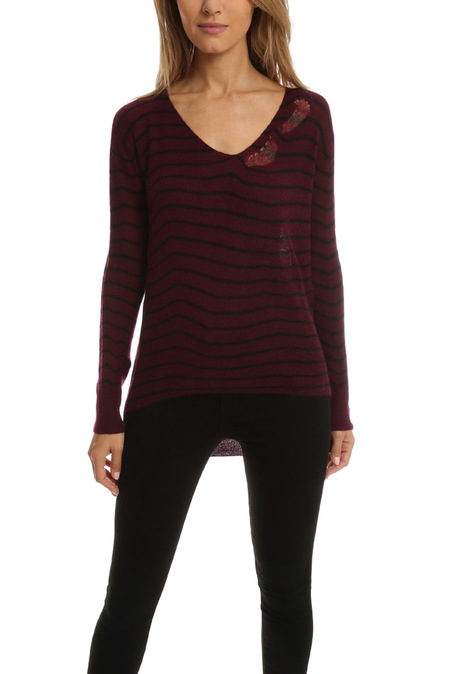 RtA Camille Deep V Sweater - Wine Stripe