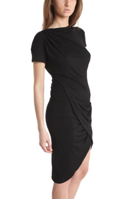 Aminaka Wilmont Short Sleeve Drape Dress - Black