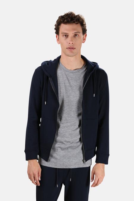 Wheelers.V Jones Zip Hoodie Sweater - Deep Navy