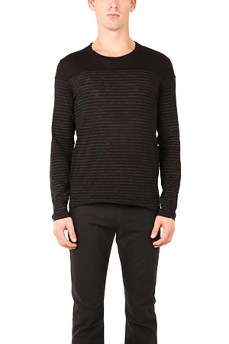 ATM Striped Crew Contrast Yoke Shirt Sweater - Black