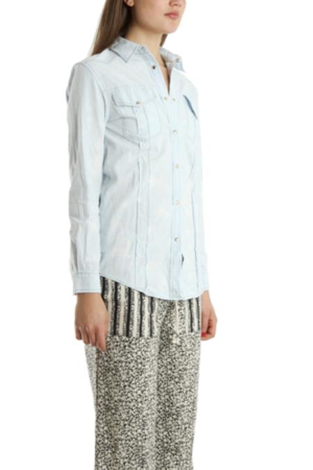 Pierre Balmain Bleachout Denim Shirt - Light Blue