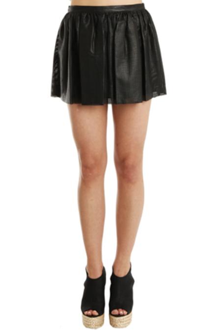 Pierre Balmain Perforated Leather Skirt - Black