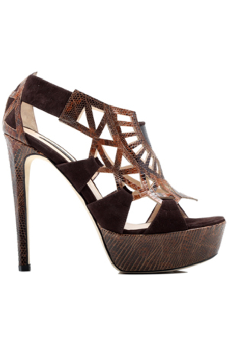 Chrissie Morris Saffi Heel Shoes - Brown Lizard