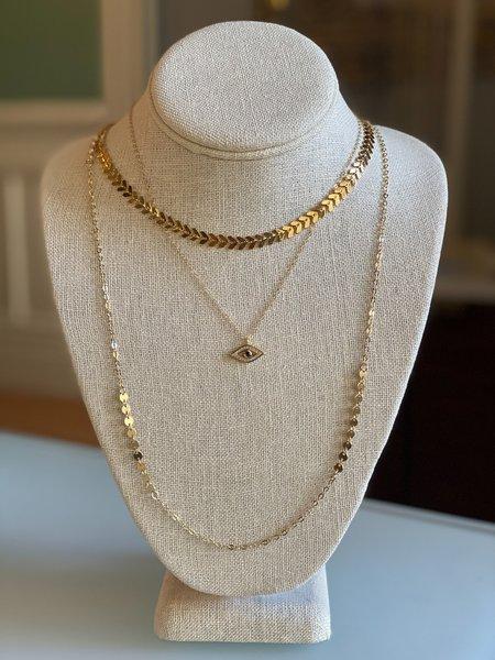 Jennifer Tuton Evil Eye Necklace - Gold