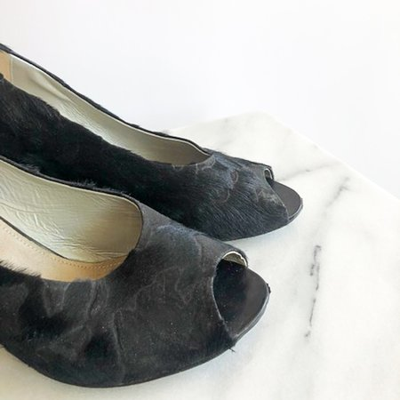 [Pre-loved] Martha Davis Peep Toe Wedges - Black