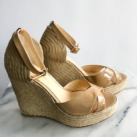 [Pre-loved] Paloma Barceló Patent Leather Espadrilles - Nude