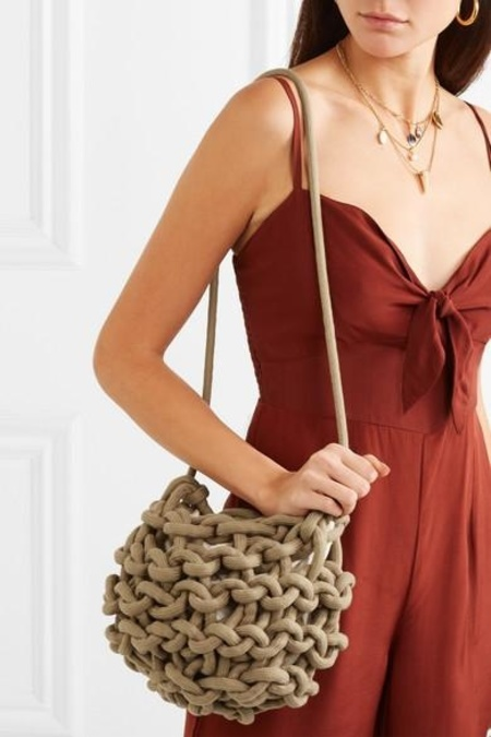 Alienina Nadia Rope Bucket Bag - Linen