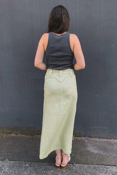 Paloma Wool TONNES LINEN SKIRT - PASTEL LIME GREEN