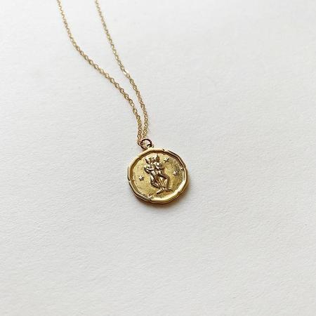 Bijoux B Large Zodiac Coin Necklace - Gold plated