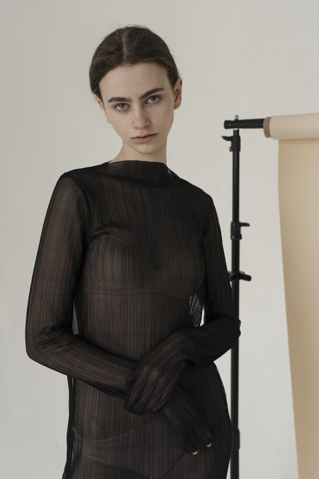 K M by L A N G E Pleated Asymmetric Dress - Black