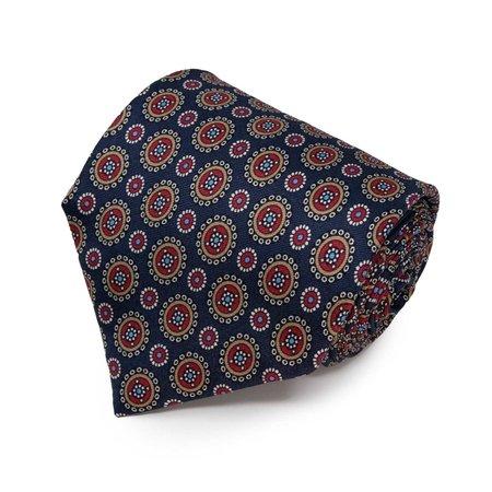 Sera Fine Silk Tie - Navy Blue/Round Pattern