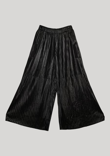 Berenik PLEATED WIDE ELASTIC PANTS - black