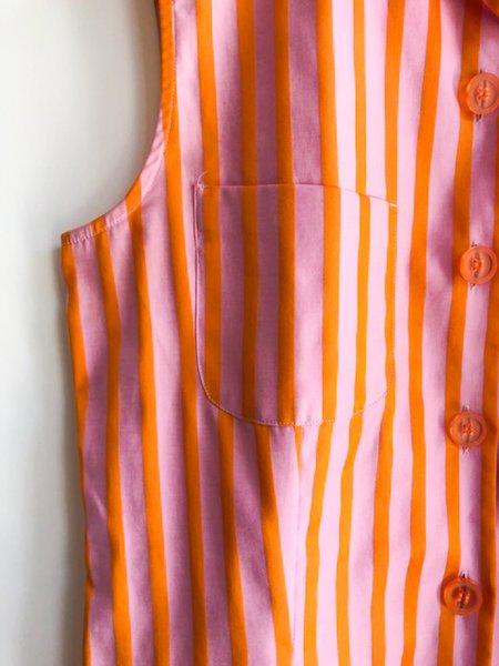 [Pre-loved] Loro Piana Striped Shirt - Pink/Orange