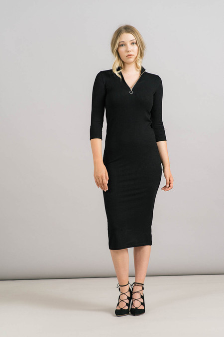 Just Female Rainy Zip Mock Neck Dress