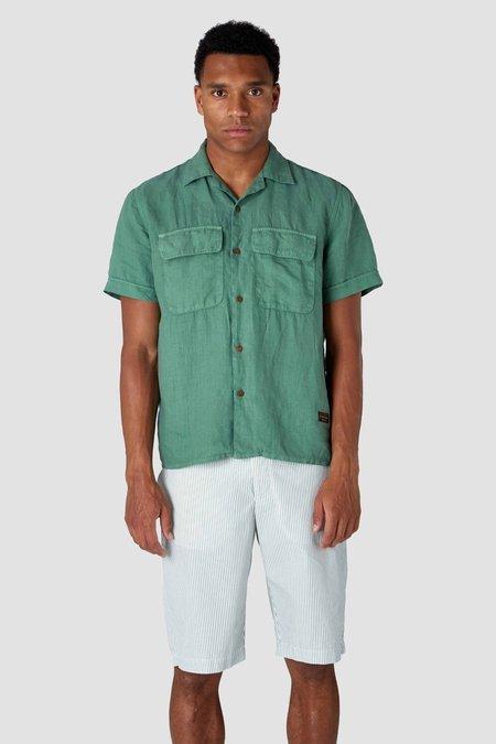 kings of indigo balder short sleeve linen shirt - pear green
