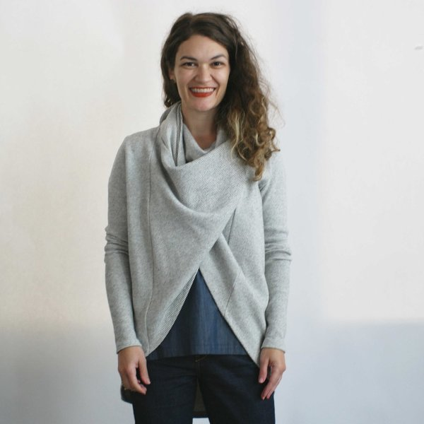 Ursa Minor Tabard Cardigan in Oatmeal Stripe