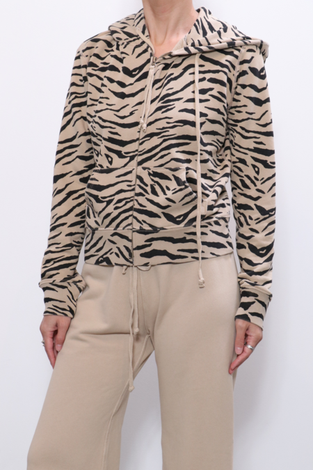 Nili Lotan Callie Zip Up Hoodie - Sandstone Black Zebra