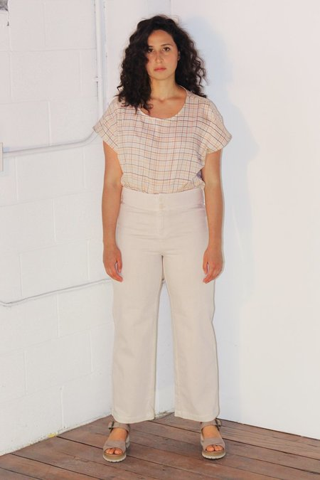 North Of West Betsy Blouse  - Fog Color Grid Print