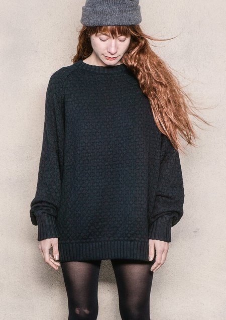 Berenik Oversized Knit Sweater - Pearl/Black