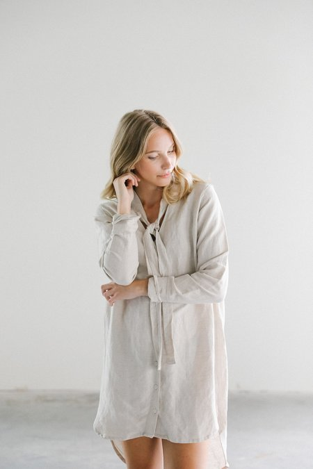 Rue Stiic Brody Shirt Dress with Tie - Linen