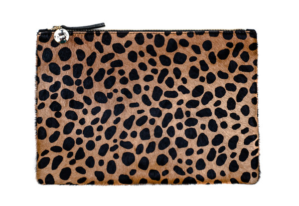 Clare V. Flat Clutch in Leopard Hair