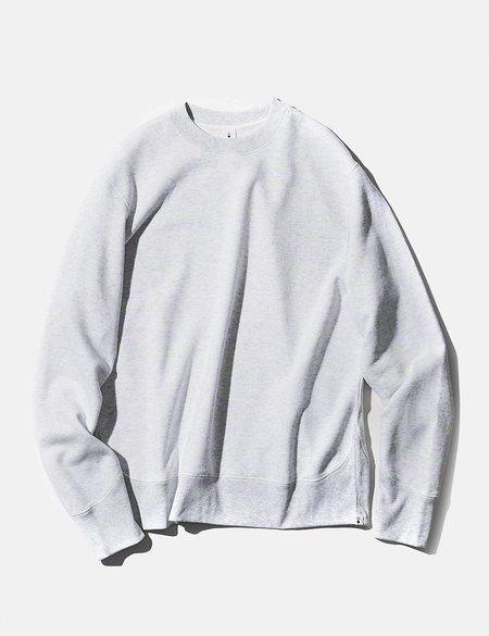 mocT Loopwheel Neon Script Sweatshirt - Light Grey/Neon Yellow