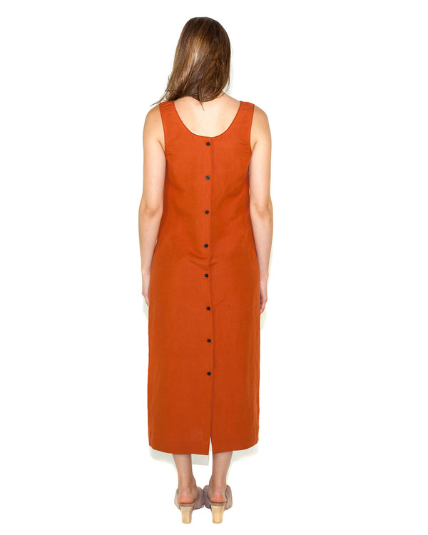 Creatures of Comfort Ozo Dress in Cayenne Silk/Linen