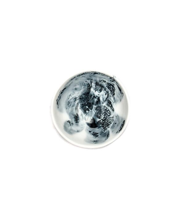 Dinosaur Designs Small Ball Bowl in Black + Snow Swirl