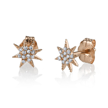 Gabriela Artigas Pave Star Stud Earrings in Rose Gold