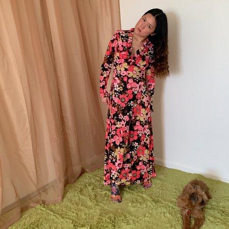 Vintage Kintsugi Floral Ruffle Dress