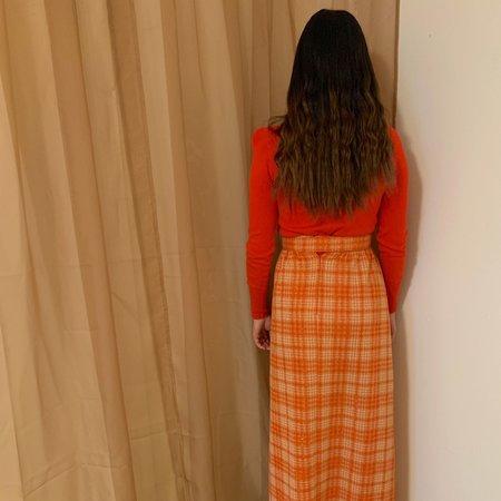 Vintage Kintsugi Plaid Skirt - Orange/Gold